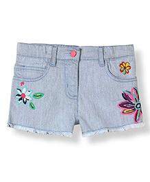 Barbie 5 Pocket Denim Shorts Floral Embroidery - Blue