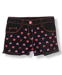 Barbie 5 Pocket Denim Shorts Embroidered Detail - Black