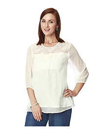 Nine Three Fourth Sleeves Maternity Top - Off White