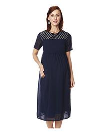 Nine Short Sleeves Maternity Dress - Navy