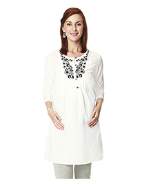 Nine Three Fourth Sleeves Maternity Tunic - White