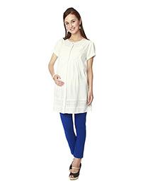 Nine Short Sleeves Maternity Tunic - White