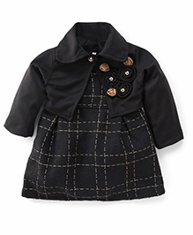 Little Kangaroos Party Frock Frock With Shrug Floral Embellishment - Black
