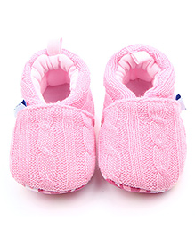 Alle Alle Woolen Crochet Booties - Pink