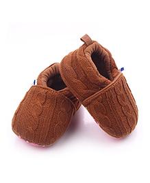 Alle Alle Woolen Crochet Booties - Brown