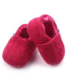 Alle Alle Woolen Crochet Booties - Rose Pink