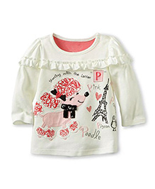 Teddy Guppies Full Sleeves Top Eiffel Tower Print - White Pink