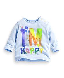 Teddy Guppies Full Sleeves T-Shirt I'm Happy Print - Light Blue