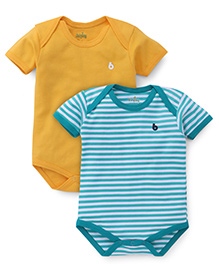 Babyhug Half Sleeves Onesies Solid Color And Striped -Yellow Green