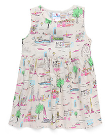 Child World Regular Neck Printed Frock - Cream