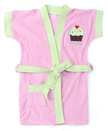 Pink Rabbit Half Sleeves Bath Robe Cupcake Embroidery - Pink Green