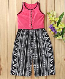 Twisha Jersey Top With Printed Palazzo Pants - Pink & Black