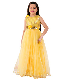 Betty By Tiny Kingdom Elegant Long Gown With Flower Embellishment - Yellow