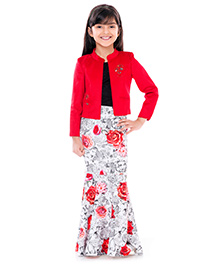 Tiny Baby Long Floral Skirt With Top & Jacket -Red