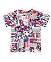 Raine And Jaine Flag Printed T-Shirt For Boys - Multicolor