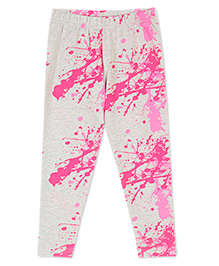 Raine And Jaine Color Blast Printed Leggings For Girls - Grey & Pink