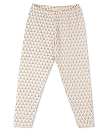 Raine And Jaine Printed Leggings For Girls - Cream