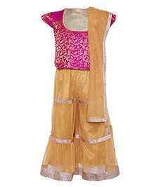 A Little Fable Sharara Blouse Dupatta Set - Pink Golden