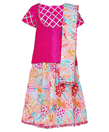 A Little Fable Half Sleeves Top Lehenga And Dupatta Set - Pink Multicolor