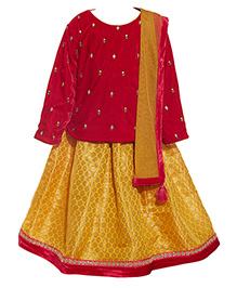 A Little Fable Full Sleeves Top Lehenga And Dupatta Set - Red Yellow
