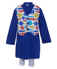 A Little Fable Kurta With Printed Vest - Blue White
