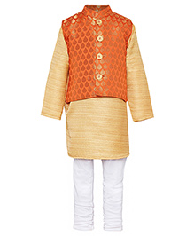 A Little Fable Full Sleeves Kurta With Vest And Pajama - Orange Beige White