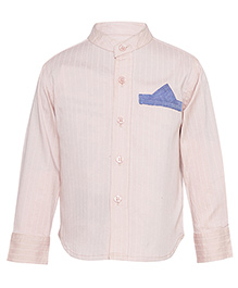 A Little Fable Full Sleeves Mandarin Collar Shirt - Light Pink