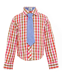 A Little Fable Full Sleeves Check Shirt With Tie - Multi Color