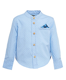 A Little Fable Full Sleeves Dotted Mandarin Collar Shirt - Blue