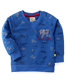 Olio Full Sleeves Winter T-Shirt Rebel Print - Royal Blue