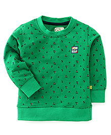 Olio Full Sleeves Winter T-Shirt All Over Boat Print - Green