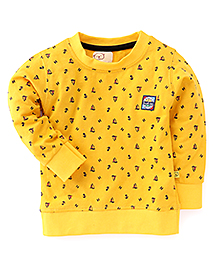 Olio Full Sleeves Winter T-Shirt All Over Boat Print - Yellow