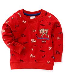 Olio Full Sleeves Winter T-Shirt Rebel Print - Red