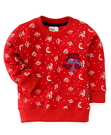 Olio Full Sleeves Printed Winter T-Shirt - Red