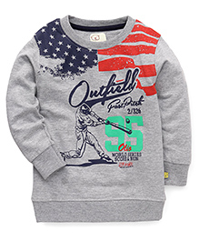 Olio Full Sleeves Winter T-Shirt Outfield Print - Grey