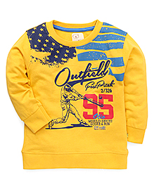 Olio Full Sleeves Winter T-Shirt Outfield Print - Yellow