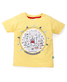 Olio Kids Half Sleeves Printed T-Shirt - Yellow