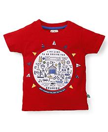 Olio Kids Half Sleeves Printed T-Shirt - Red