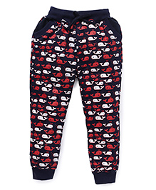 Olio Kids Full Length Track Pant Dolphin Print - Navy