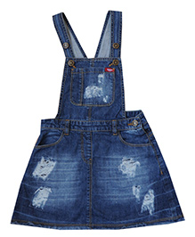 Bees And Butterflies Denim Dungaree - Dark Blue