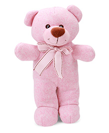 Starwalk Soft Toy Teddy Bear With Bow Pink - Height 23 Cm