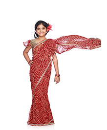 Bhartiya Paridhan Stitched Traditional Designer Saree With Stitched Blouse - Red