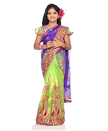Bhartiya Paridhan Stitched Traditional Designer Saree With Stitched Blouse - Green Purple