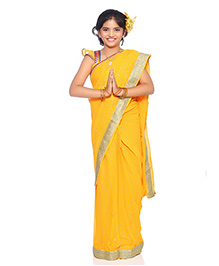 Bhartiya Paridhan Stitched Traditional Designer Saree With Stitched Blouse - Yellow