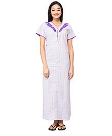 Eazy Short Sleeves Maternity Nursing Nighty Floral Print - White Purple