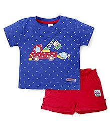 Toffyhouse Half Sleeves T-Shirt And Shorts Set Stars Print - Royal Blue Red