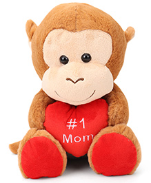 Starwalk Plush Monkey With Heart Soft Toy Brown - 23 Cm