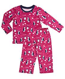 Crayonflakes Penguins Animal Print Night Suit - Magenta