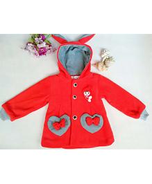 Tickles 4 U Heart Applique Bunny Ears Hooded Jacket - Red