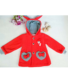 Tickles 4 U Heart Applique Bunny Ears Hooded Jacket - Red